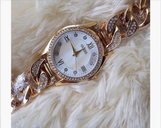jewels watch gold chain link guess