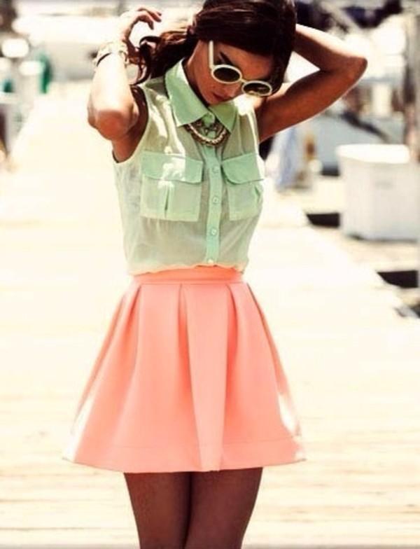 blouse skirt shirt sunglasses green pink thin vest spring bright top dress mint transparent 2015 helpmepls summer musthave mint pink ruffles short cute grunge hipster vintage kawaii grunge kawaii