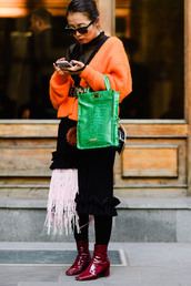 cardigan,tumblr,orange,sunglasses,streetstyle,bag,green bag,boots,patent boots,red boots,opaque tights,tights,skirt,midi skirt