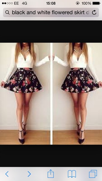 dress flowers black and white