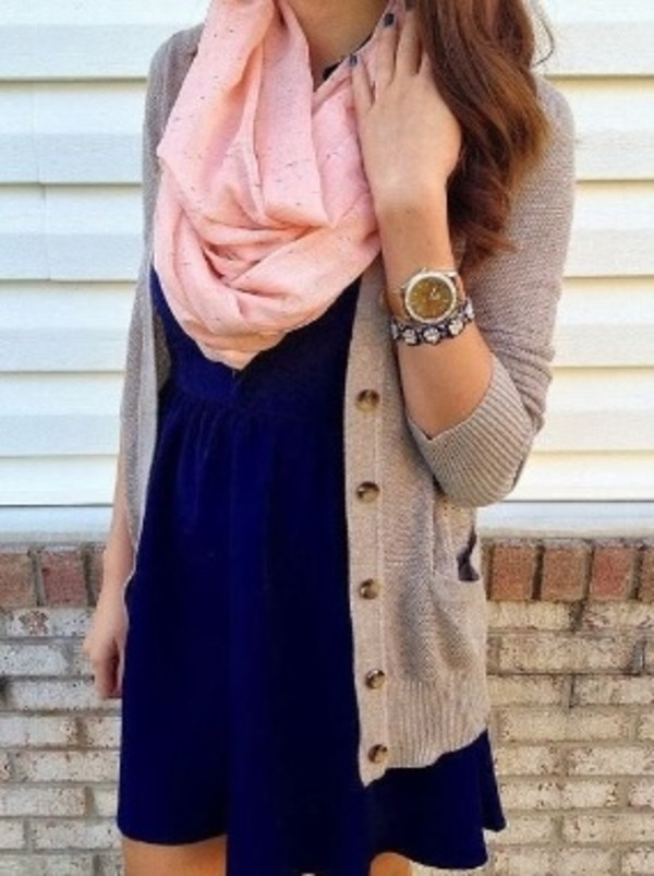 scarf pink dress jewels sweater heather grey navy dress