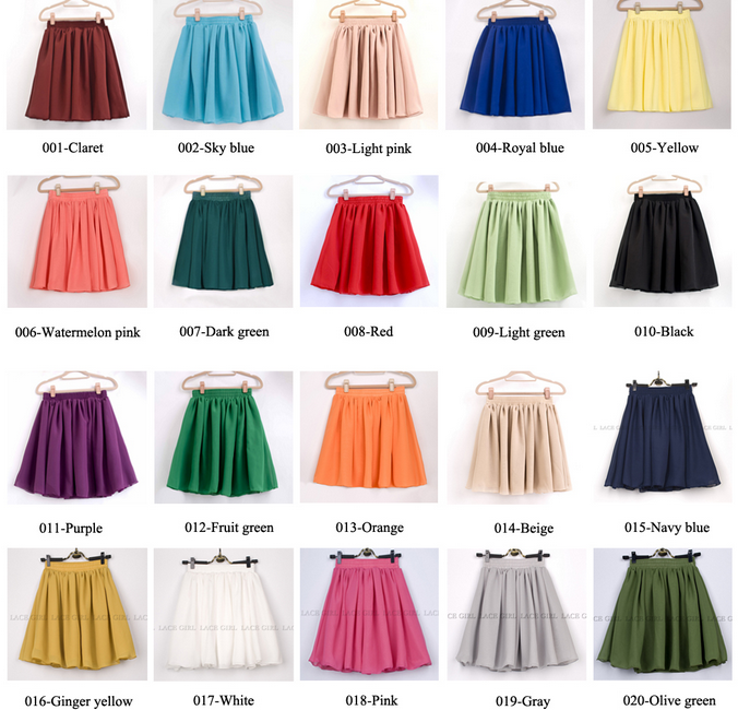 High waisted retro chiffon mini skirt / manythx