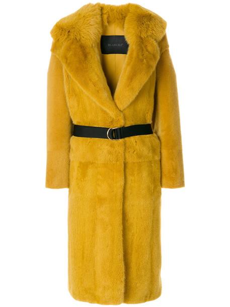 BLANCHA coat fur coat fur women leather cotton yellow orange