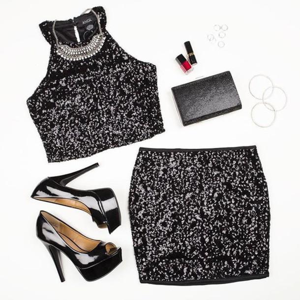 e0073e69da dress sequins matching set black sequin black sequin crop top black sequin  skirt holidays new year s