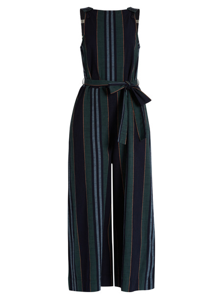 ACE & JIG Allovers striped-cotton jumpsuit in green / multi