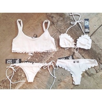 swimwear white white swimwear girly white bikini white lace bikini lace fashion hipster bikini scalloped edges scalloped bikini