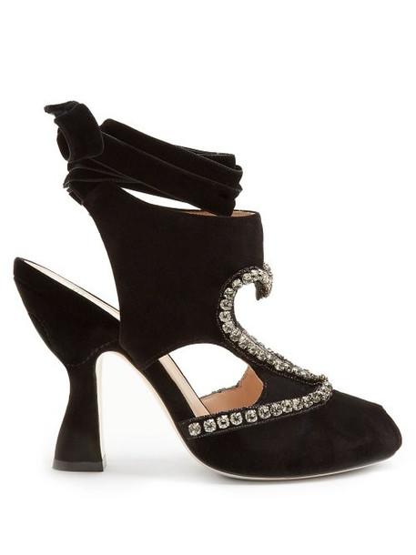Fendi - Heart Cut Out Crystal Detail Velvet Pumps - Womens - Black