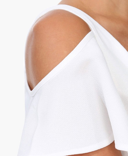 Off-the-shoulder White Chiffon Crop Top