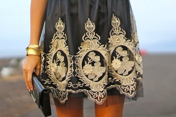 gold cute black skirt mesh