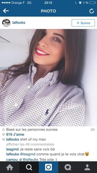 blouse ralph lauren blue blouse white blouse