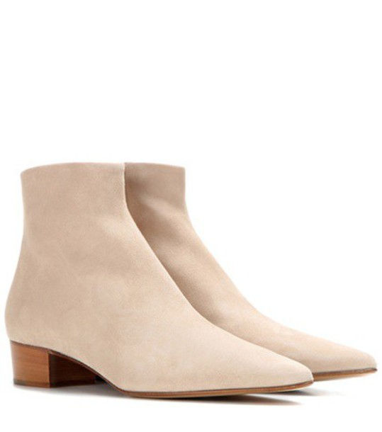 The Row Ambra Suede Boots in beige / beige