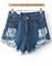 Navy ripped fringe denim shorts