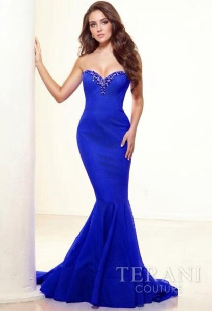 Dress: blue dress, prom, prom dress, long prom dress, prom ...
