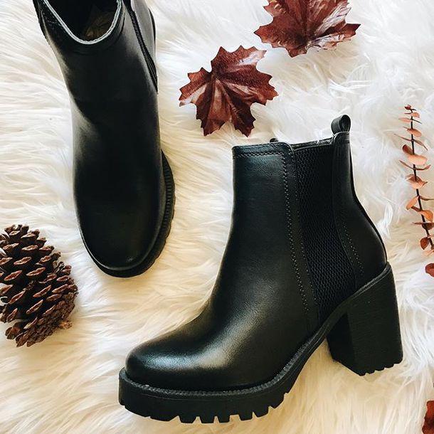 shoes, chunky, boots, black, fashion
