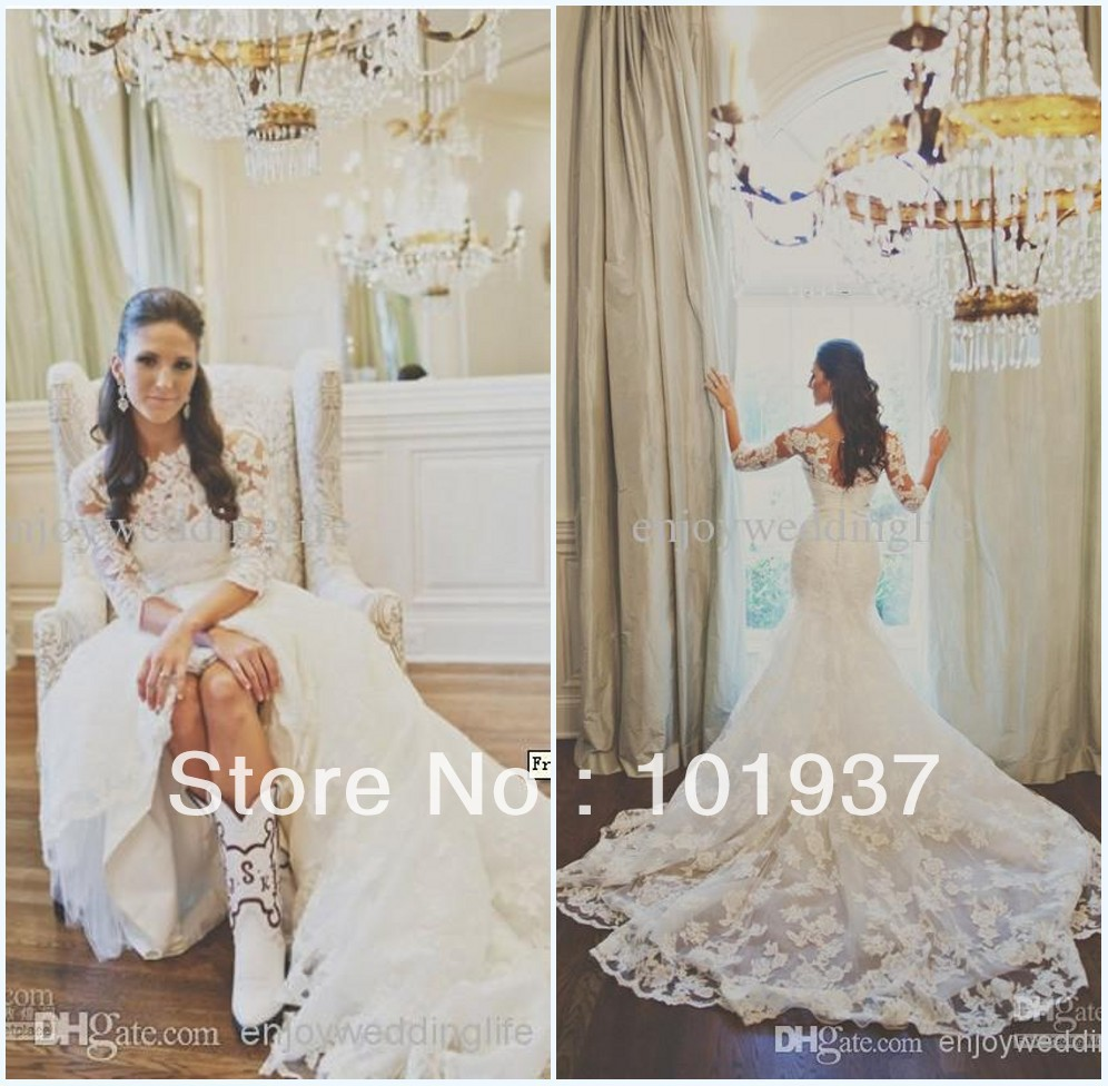 vestido de noiva New Superb Mermaid High Collar Beaded Waist Chapel Train Bridal Gown Lace Wedding Dress With Sheert Sleeves -in Wedding Dresses from Apparel & Accessories on Aliexpress.com
