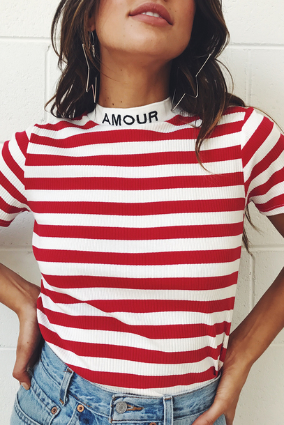 shirt verge girl red and white amour 28719 striped top stripes french girl style french girl french trendy paris