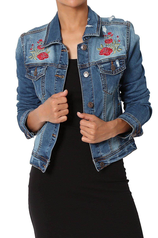 TheMogan Women's Vintage Blue Stone Washed Denim Cropped Jean Jacket at Amazon Women's Coats Shop