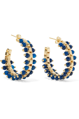 earrings hoop earrings gold blue jewels