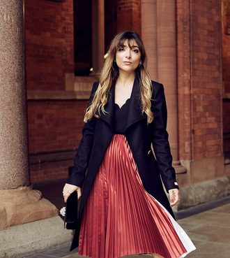 skirt black coat red skirt ted baker pleated pleated skirt midi skirt coat feminine