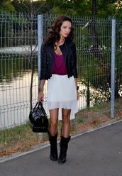 my silk fairytale,jacket,skirt,shirt,shoes,bag,jewels