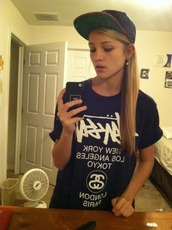 t-shirt,black and white,blue and white,snapback,stussy