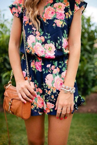 romper fall outfits flowers blue floral navy romantic shorts vintage print floral romper bag floral dress dress satch spring spring dress brown bag brown leather satchel bracelets hair accessory naveyblue dark dark blue pink orange summer dress summer floral navy romper
