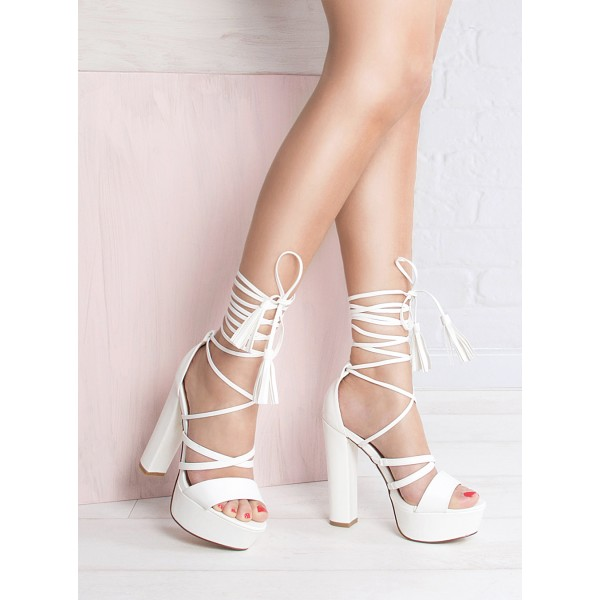 White Lace Up Platform Block Heels : Simmi Shoes