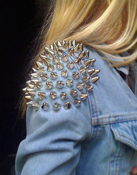 jacket studs denim jacket spikes studded jacket jeans denim jacket blue