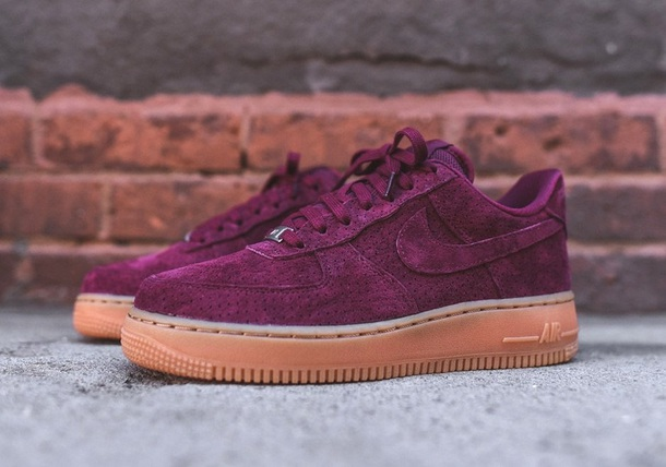 burgundy air force ones