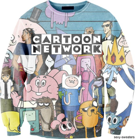 sweater cartoon cartoon network sweatshirt pink blue aqua mint brown gumball ben10 ben 10 turquoise