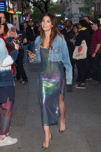 dress pumps lily aldridge denim jacket metallic slit dress shoes