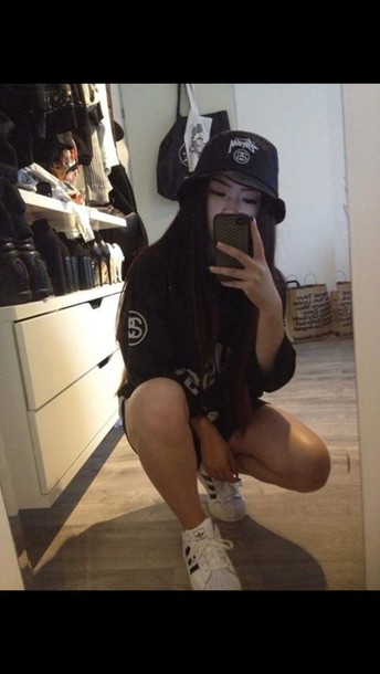 t-shirt shoes top black sweater stussy