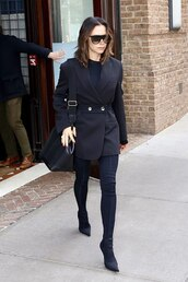 jacket,all black everything,blazer,black blazer,celebrity,pants,victoria beckham,fall outfits