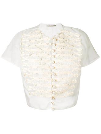 blouse women nude cotton silk top