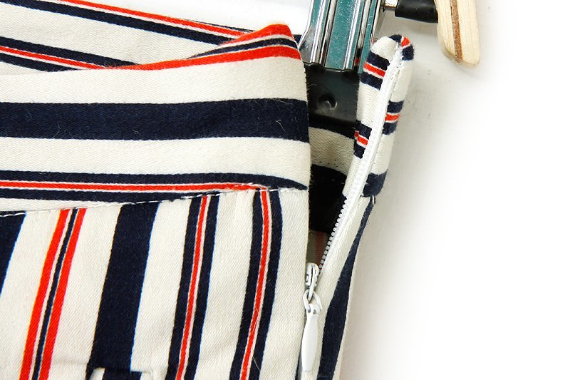 Red Blue Vertical Stripe Pockets Slim Pant - Sheinside.com