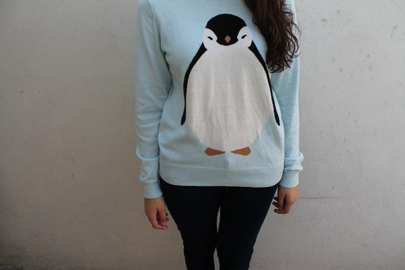 cutler and gross sweater cute light blue forever 21 rue 21 penguin