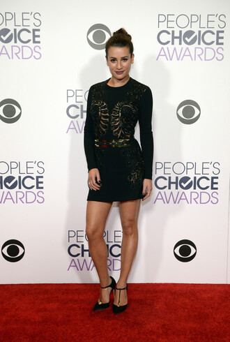 dress mini dress pumps little black dress red carpet long sleeve dress bodycon dress lea michele people's choice awards belt shoes