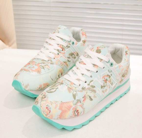 shoes white cute sneakers sneakers high floral turquoise spring spring trends 2014