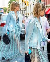 dress,handbag,gigi hadid,fashion,jacket,blue,teal,fashion toast,model,model off-duty,victoria's secret model,maxi dress,blue dress