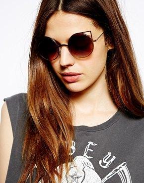 ASOS | ASOS Metal Kitten Sunglasses With Cut Out Detail at ASOS