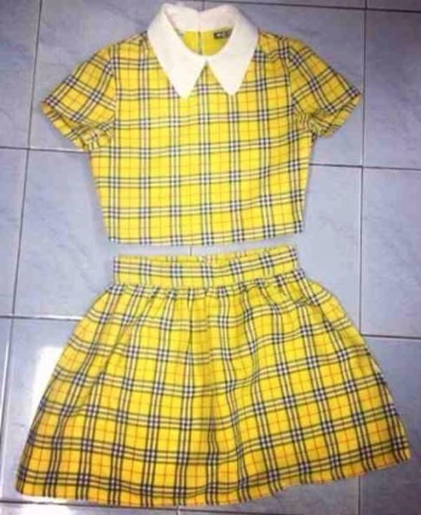 dress two piece dress set plaid dress yellow dress