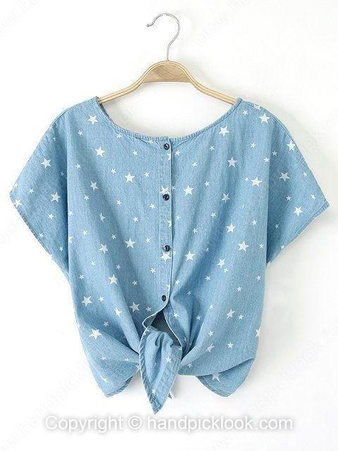 Blue Round Neck Star Print Batwing T-Shirt - HandpickLook.com