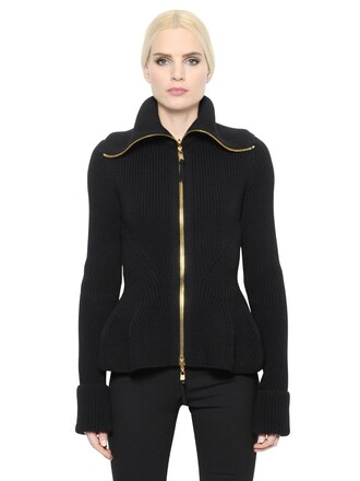 jacket knit wool black