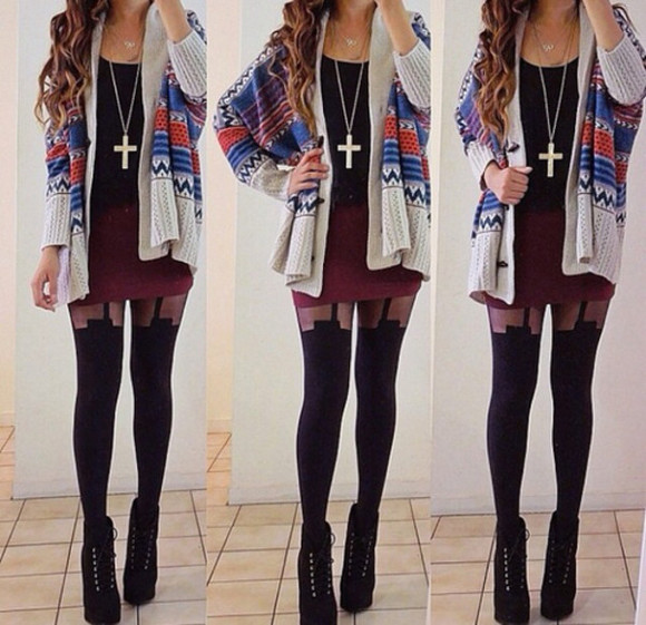 cardigan cross necklace hipster claret pencil skirt