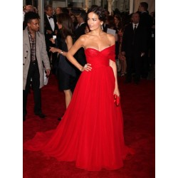Camilla Belle Red Chiffon Strapless Formal Prom Dress 2011 Met Gala Red Carpet