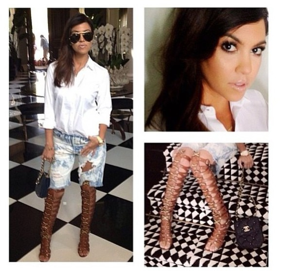 kourtney kardashian sexy shoes brown