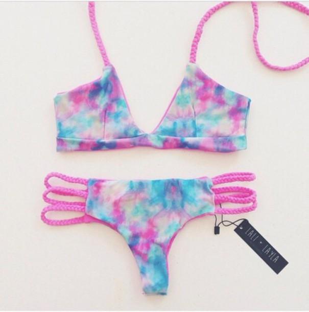 swimwear pink blue tie dye bikini
