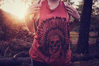 t-shirt rose noir tête de mort dead plume top