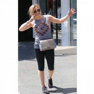 bag hilary duff grey celebrity style celebrity crossbody bag chanel chanel bag yoga pants leggings black leggings grey tank top tank top sunglasses workout leggings gym clothes running shoes
