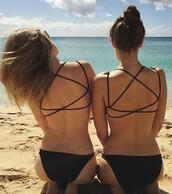 swimwear,black swimwear,hipster swimwear,top,bikini,bikini top,strappy bikini,black bikini,tumblr bikini,sexy bikini,style